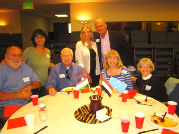 Enjoying the feast, the Dunlaps, the Buehners, and Pastor Joyce make some new friends from other churches.